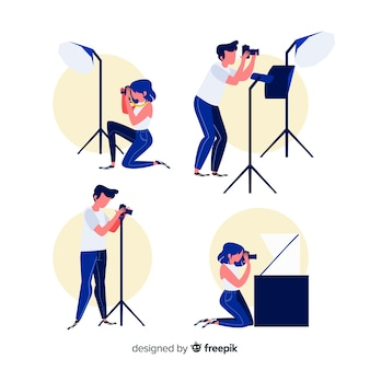 Illustrated photographers taking different shots pack