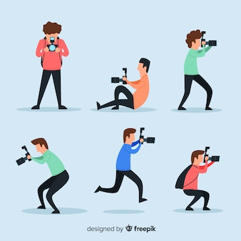 Illustrated photographers taking different shots set