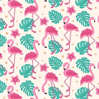 Illustrated pink flamingo bird pattern with tropical leaves