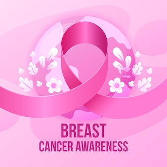 Иллюстрированная розовая лента к месяцу осведомленности о раке груди