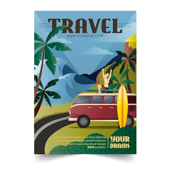 Illustrated poster for beach travelling lovers