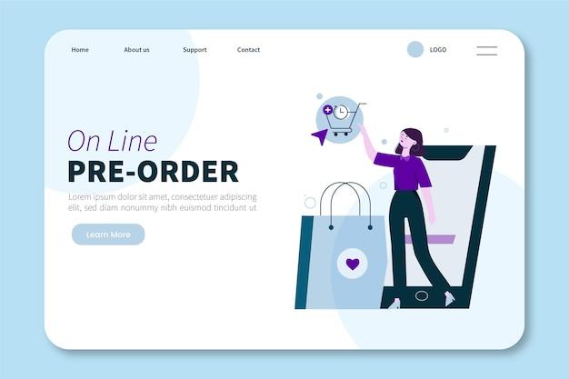 Illustrated pre-order concept landing page template