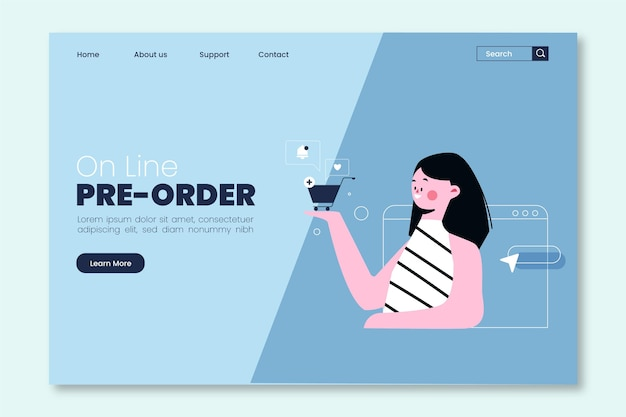 Illustrated pre-order concept landing page