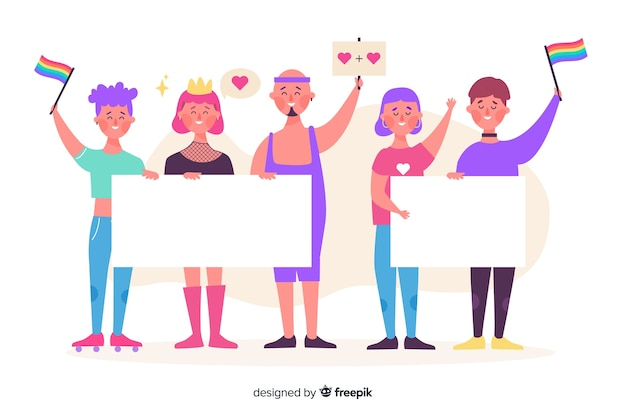 Illustrated pride people holding empty banners