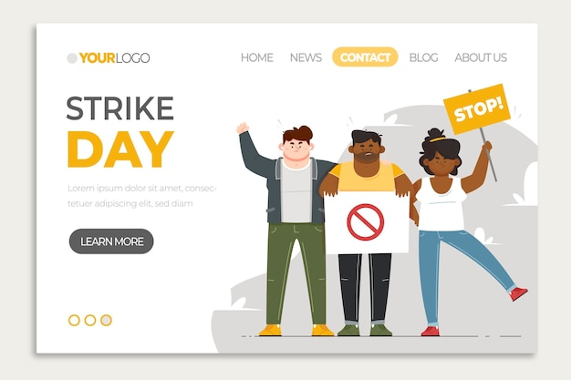 Illustrated protest strike landing page