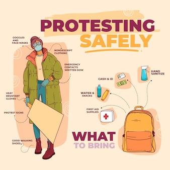 Иллюстрированный протестующий благополучно инфографики