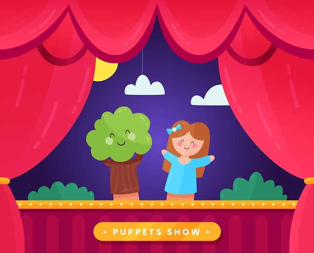 Illustrated puppet show for children background