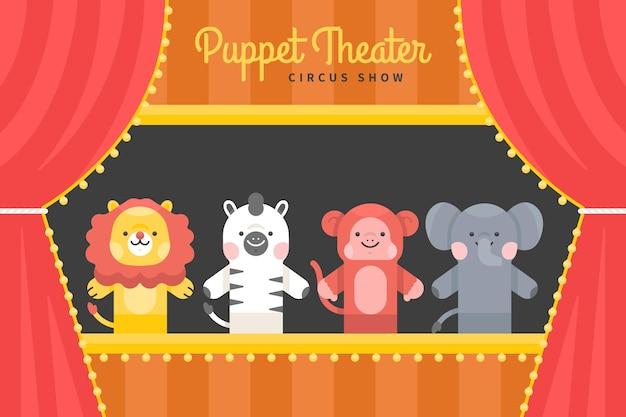 子供の背景のための図解人形劇