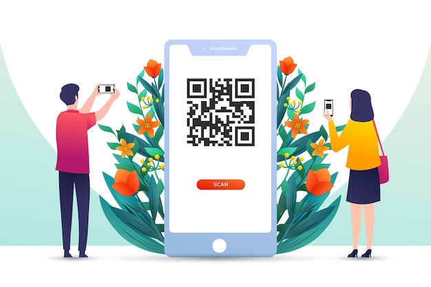 Illustrated qr code scanning concept with characters