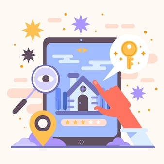 Illustrated real estate searching concept
