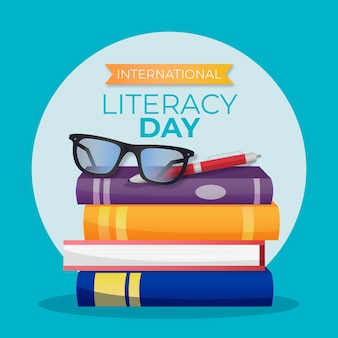 Illustrated realistic international literacy day