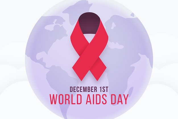 Illustrated red ribbon symbol for aids day