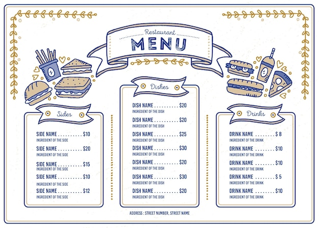 Illustrated restaurant menu for digital platform in horizontal format