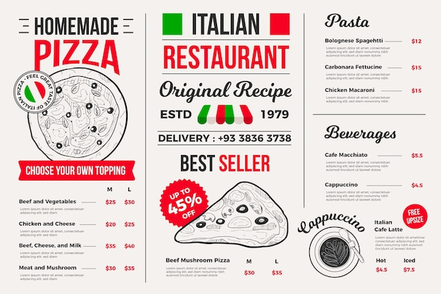 Illustrated restaurant menu for digital platform