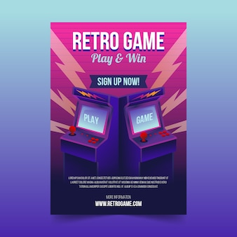 Illustrated retro gaming poster template