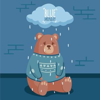 Illustrated sad bear on blue monday