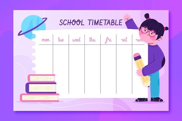 Illustrated school timetable with girl