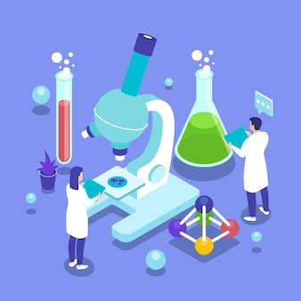 Illustrated science concept with microscope