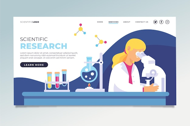 Illustrated scientific research landing page
