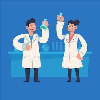 실험실에서 함께 일하는 일러스트 과학자
