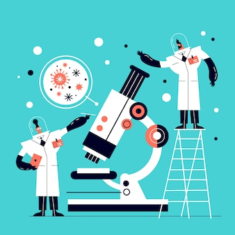 Illustrated scientists working in lab