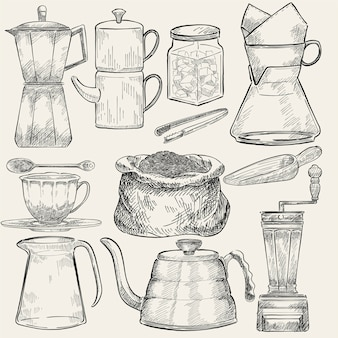 Illustrated set of coffee making tools