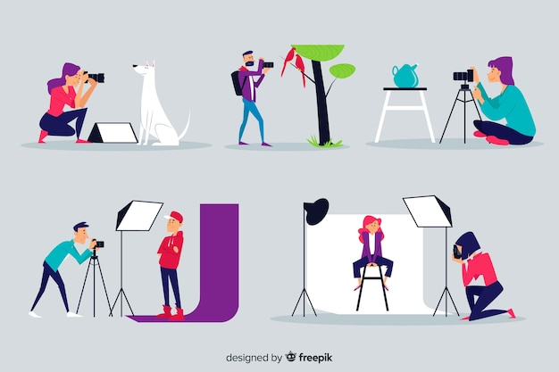 Illustrated set of photographers working
