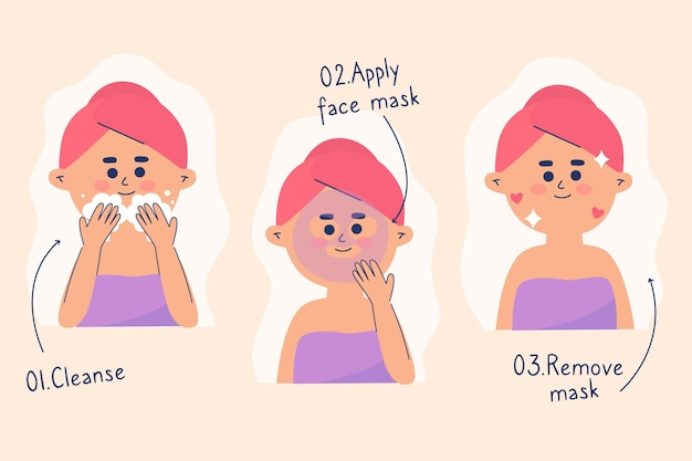 Illustrated skincare routine for women