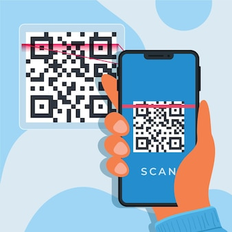 Illustrated smartphone scanning a qr code