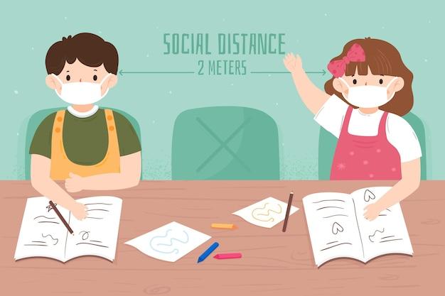 Distanza sociale illustrata a scuola