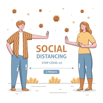 Illustrated social distancing concept