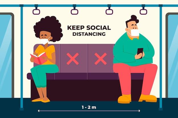 公共交通機関における社会的距離の図解