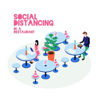 Illustrated social distancing in restaurant