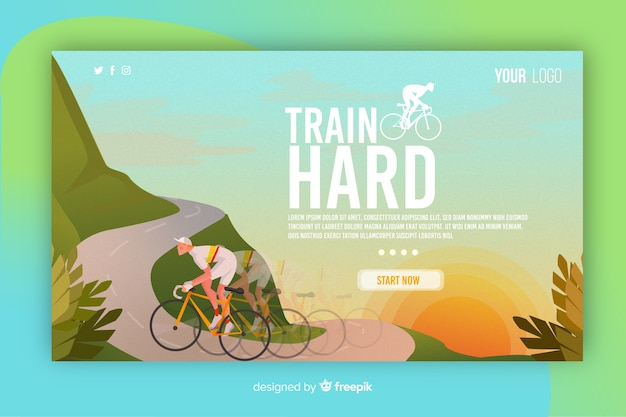 Illustrated sport landing page template