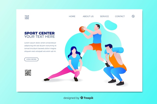 Pagina di destinazione sportiva illustrata