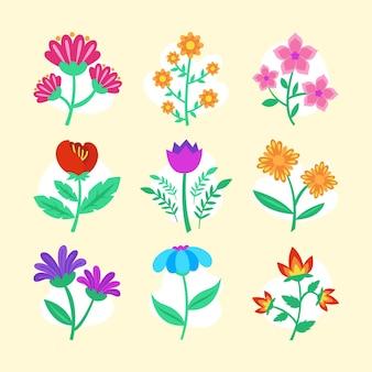 Collezione illustrata di fiori primaverili
