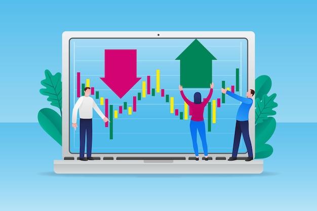Illustrated stock exchange data