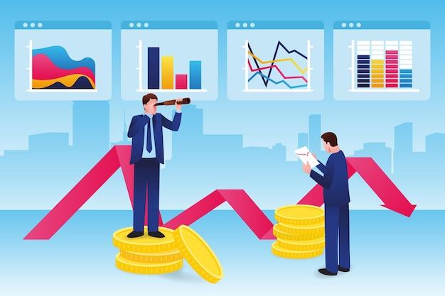 Иллюстрированный анализ фондового рынка Бесплатные векторы