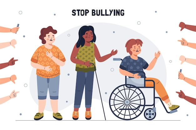 Illustrated stop bullying concept