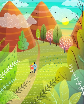 Illustrated summer escape to nature with hills and mountains couple walking on road.