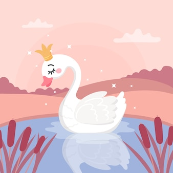 Illustrated swan princess concept