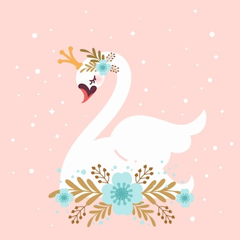 Illustrated swan princess