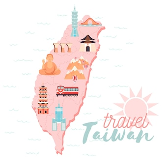 Illustrated taiwan map with pale colors