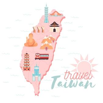 淡い色のイラスト入りの台湾地図