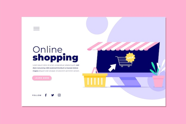 Illustrated template for shopping online landing page