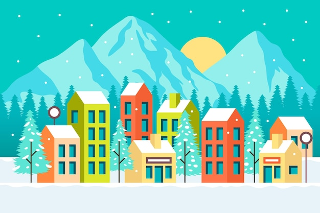 Illustrated town with snow and mountains