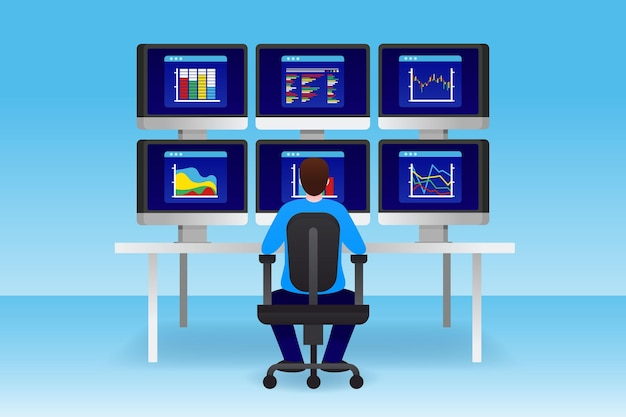 Illustrated trader working at his desk