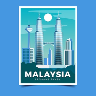 Illustrated travel poster template