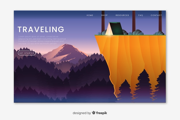 Illustrated traveling landing page