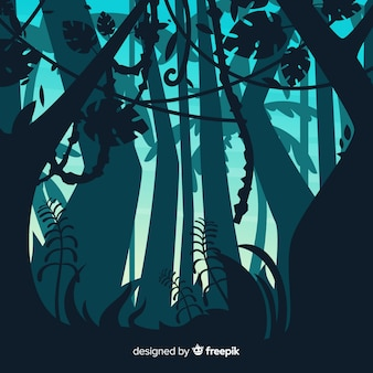 Illustrated tropical forest landscape